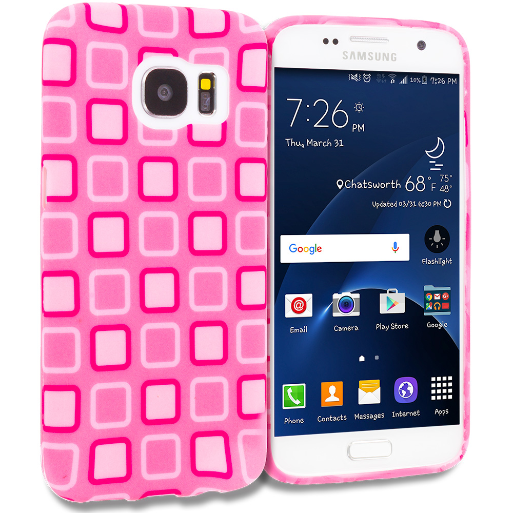 Samsung Galaxy S7 Combo Pack : Green Bubbles TPU Design Soft Rubber Case Cover : Color Pink Squares