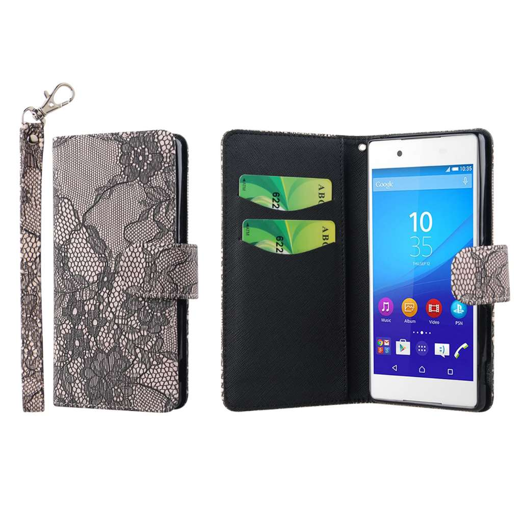 Sony Xperia Z4 - Black Lace MPERO FLEX FLIP Wallet Case Cover