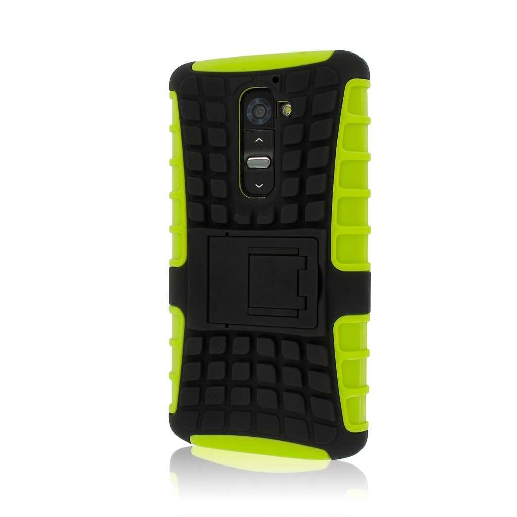LG G2 D800 D801 LS980 - Neon Green MPERO IMPACT SR - Kickstand Case Cover