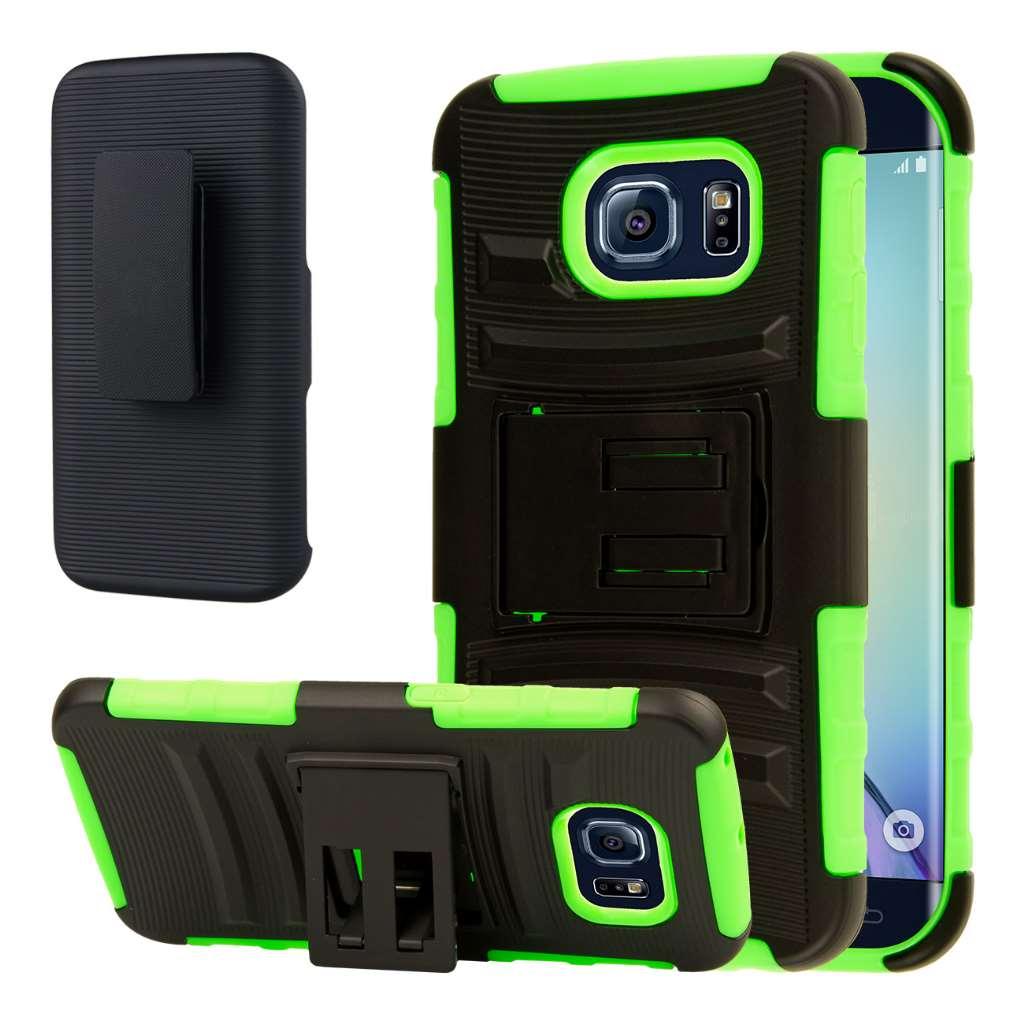 Samsung Galaxy S6 Edge - Neon Green MPERO IMPACT XT - Kickstand Case Cover