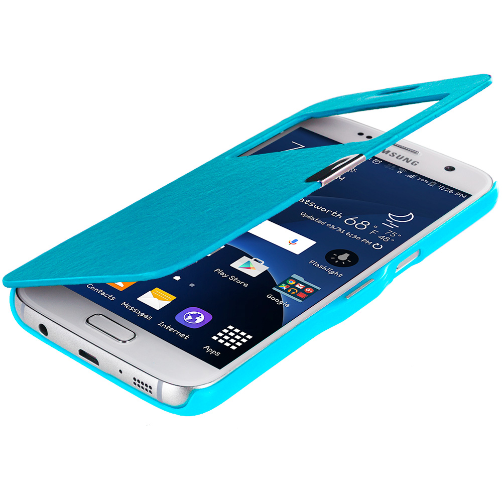 Samsung Galaxy S7 Combo Pack : Baby Blue With Window Magnetic Flip Wallet Case Cover Pouch : Color Baby Blue With Window