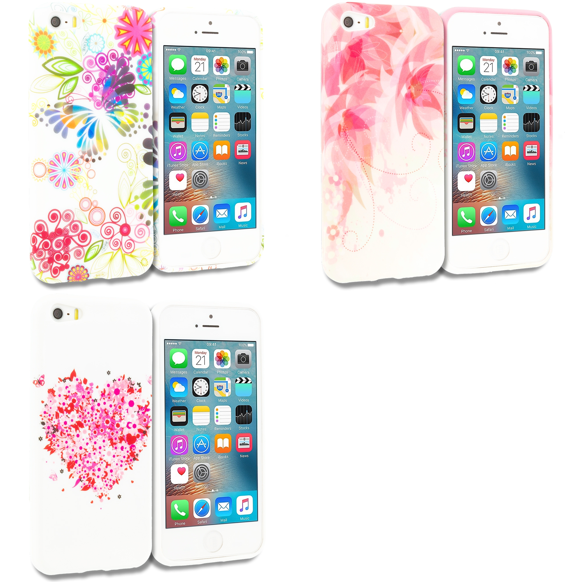 Apple iPhone 5/5S/SE Combo Pack : Flower Rainbow Colorful TPU Design Soft Rubber Case Cover