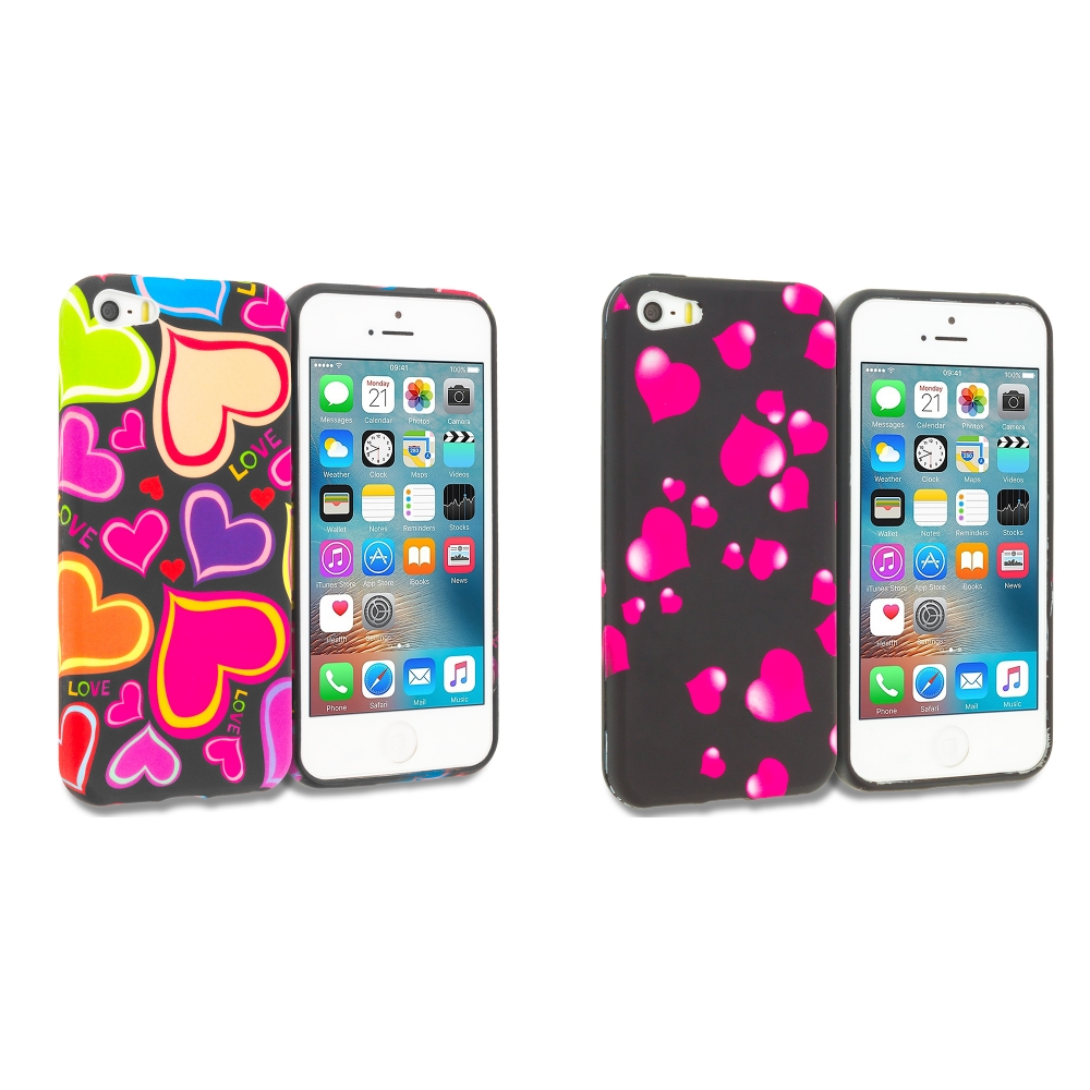 Apple iPhone 5/5S/SE Combo Pack : Rainbow Hearts Black TPU Design Soft Rubber Case Cover
