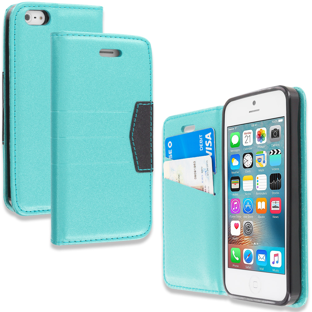 Apple iPhone 5/5S/SE Combo Pack : Purple Wallet Flip Leather Pouch Case Cover with ID Card Slots : Color Baby Blue