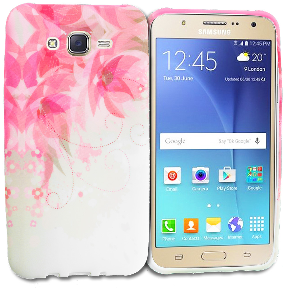 Samsung Galaxy J7 Flower With Red Leaf TPU Design Soft Rubber Case Cover