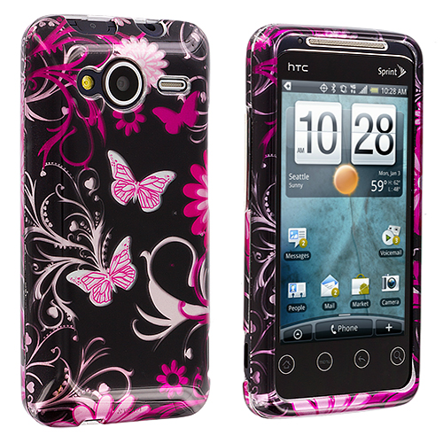 HTC EVO Shift 4G Pink Butterfly Flowers Design Crystal Hard Case Cover