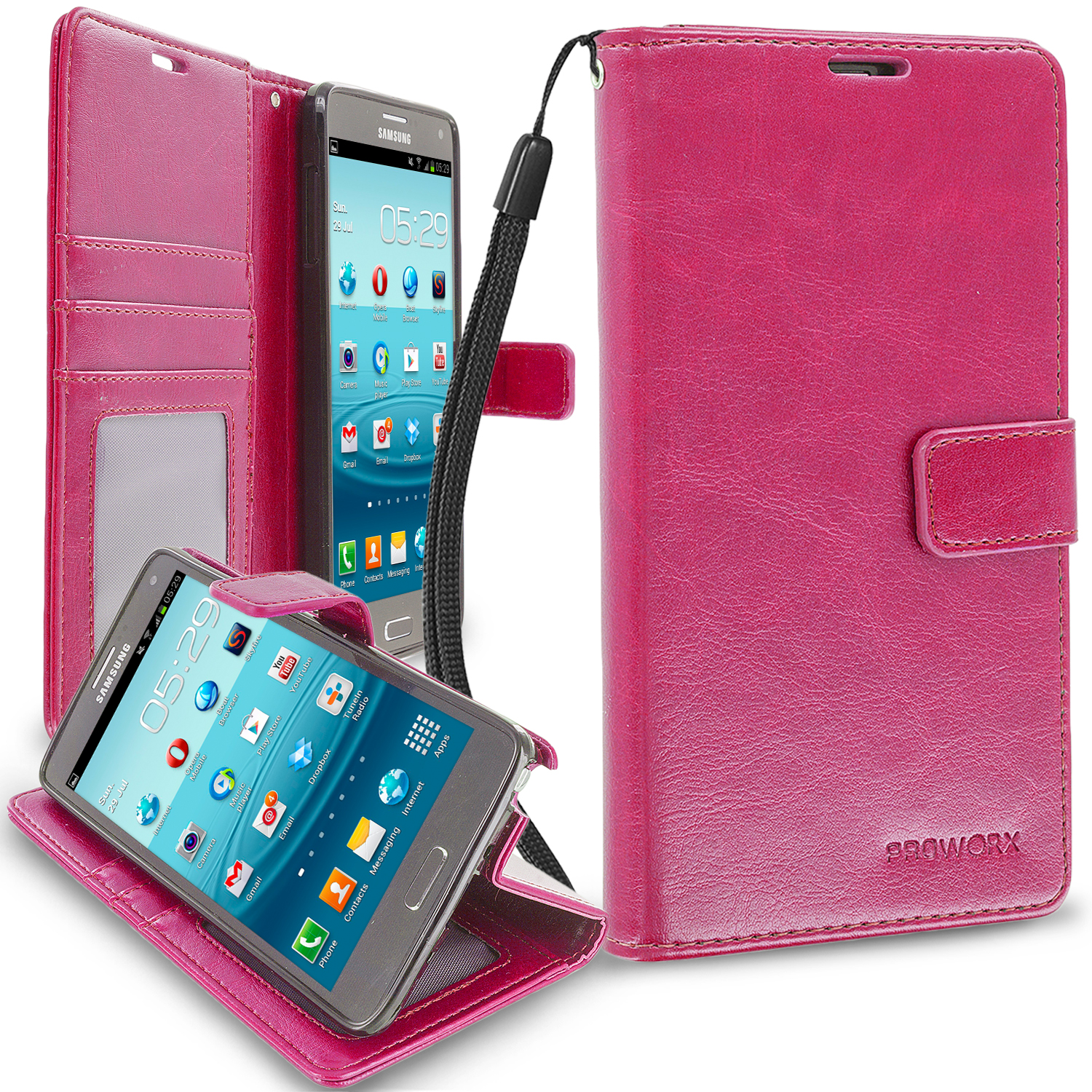 Samsung Galaxy Note 4 Hot Pink ProWorx Wallet Case Luxury PU Leather Case Cover With Card Slots & Stand