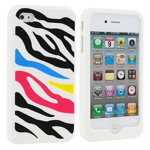 Apple iPhone 4 / 4S Colorful Zebra Silicone Design Soft Skin Case Cover
