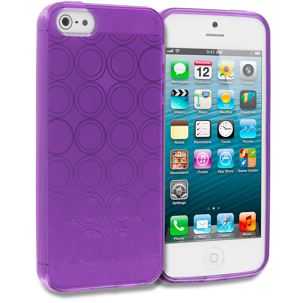 Apple iPhone 5/5S/SE Combo Pack : Hot Pink Circles TPU Rubber Skin Case Cover : Color Purple Circles