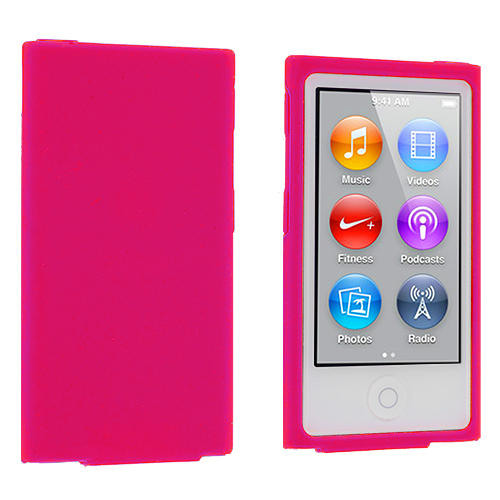 Apple iPod Nano 7th Generation Hot Pink Silicone Soft Skin Case Cover