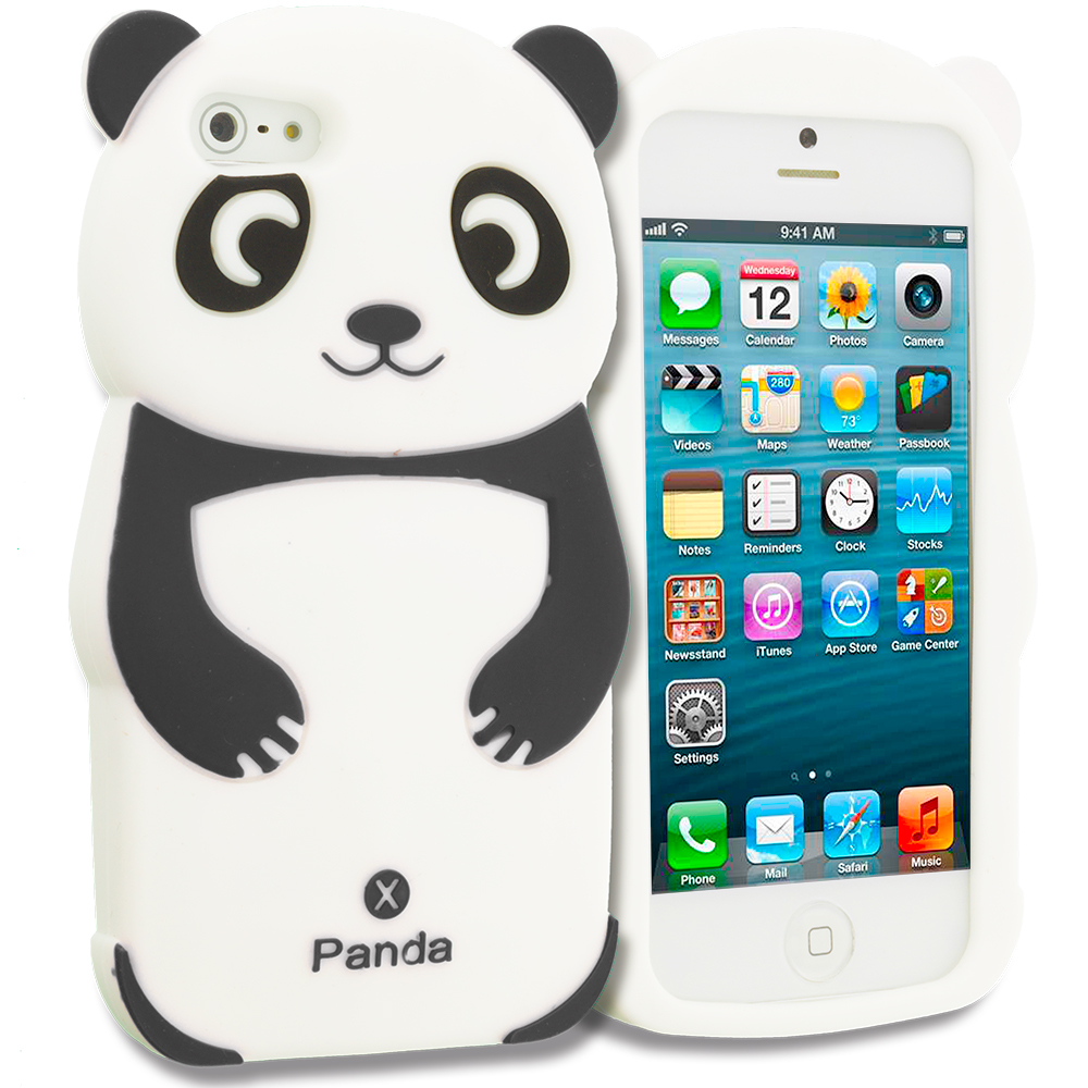Apple iPhone 5/5S/SE Combo Pack : Black Panda Silicone Design Soft Skin Case Cover : Color Black Panda