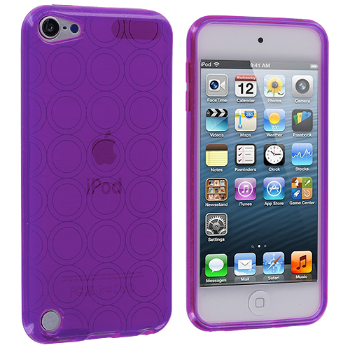 Apple iPod Touch 5th 6th Generation Purple Circles TPU Rubber Skin Case Cover