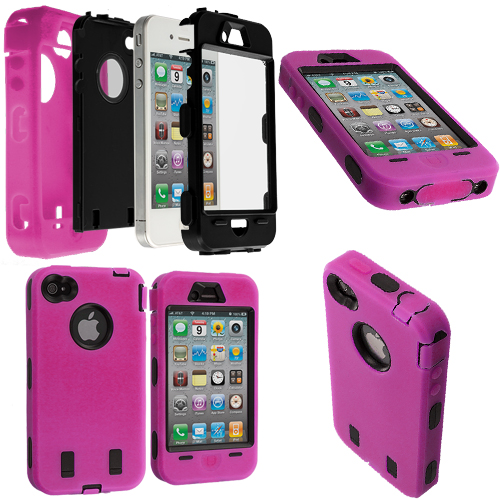 Apple iPhone 4 / 4S 2 in 1 Combo Bundle Pack - Black / Pink + Protector Hybrid Deluxe Hard/Soft Case Cover : Color Hot Pink / Black + Protector