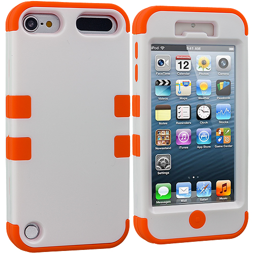 Apple iPod Touch 5th Generation 5G 5 Orange / White Hybrid Tuff Hard/Soft 3-Piece Case Cover