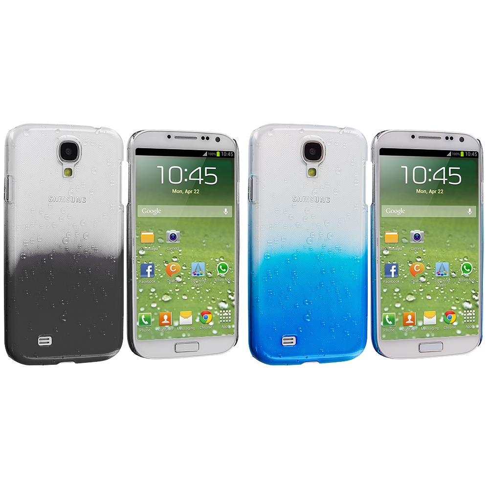 Samsung Galaxy S4 2 in 1 Combo Bundle Pack - Black Blue Crystal Raindrop Hard Case Cover
