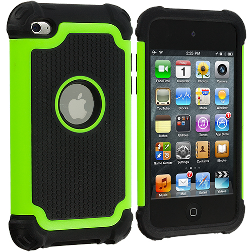 Apple iPod Touch 4th Generation Neon Green Hybrid Rugged Hard/Soft Case Cover