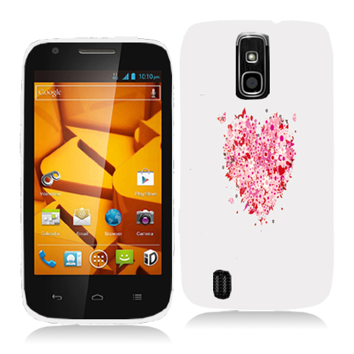 ZTE Force N9100 Hearts Full of Flowers on White Hard Rubberized Design Case Cover