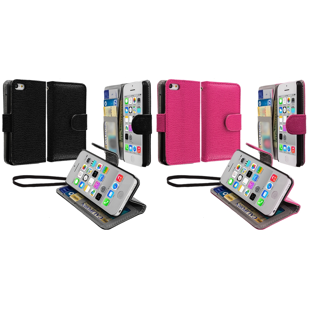 Apple iPhone 5C 2 in 1 Combo Bundle Pack - Black Pink Leather Wallet Pouch Case Cover with Slots