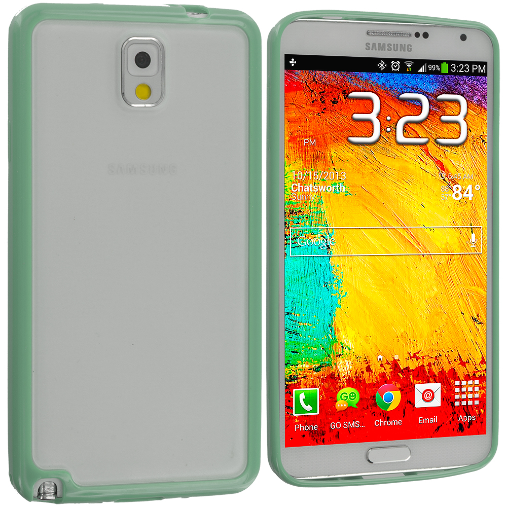 Samsung Galaxy Note 3 N9000 Mint Green TPU Plastic Hybrid Case Cover