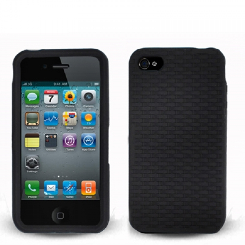 Apple iPhone 4 / 4S Black Silicone Soft Skin Rubber Case Cover