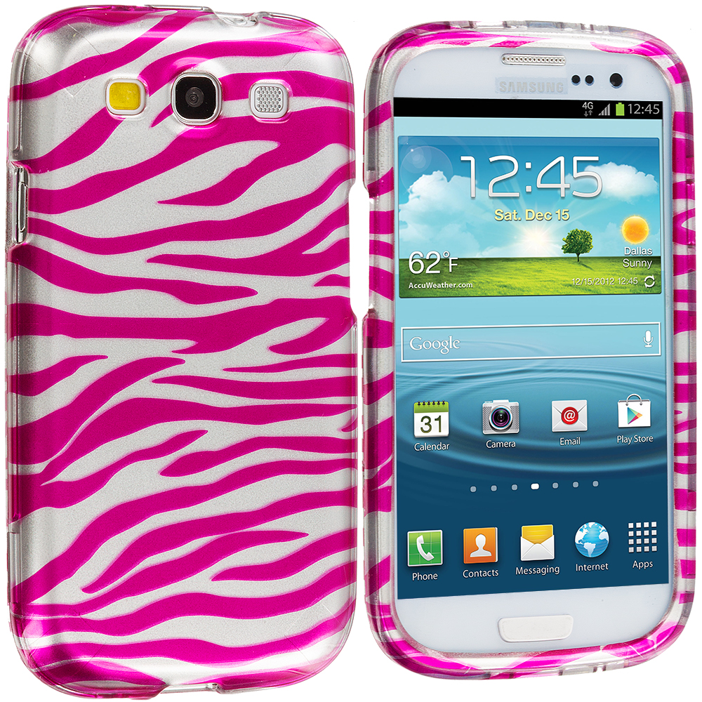 Samsung Galaxy S3 Pink / Silver Zebra Hard Rubberized Design Case Cover