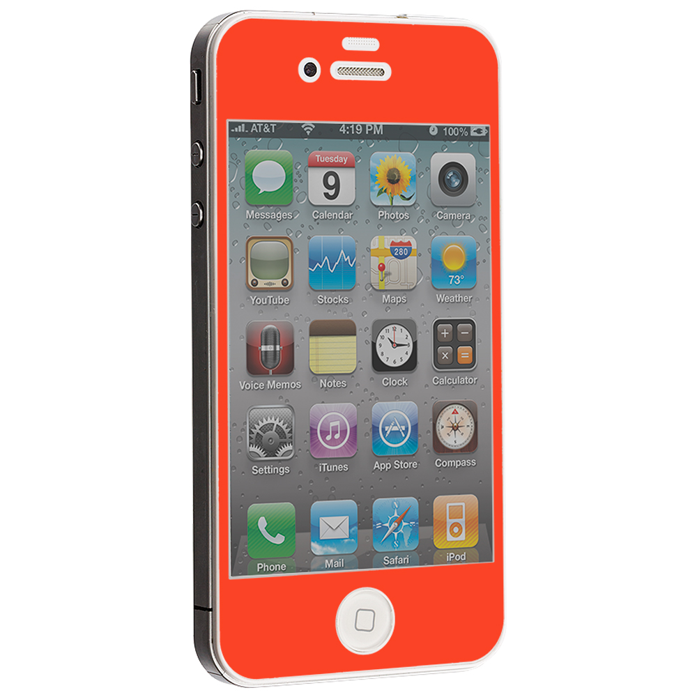 Apple iPhone 4 / 4S Orange LCD Tempered Glass Screen Protector