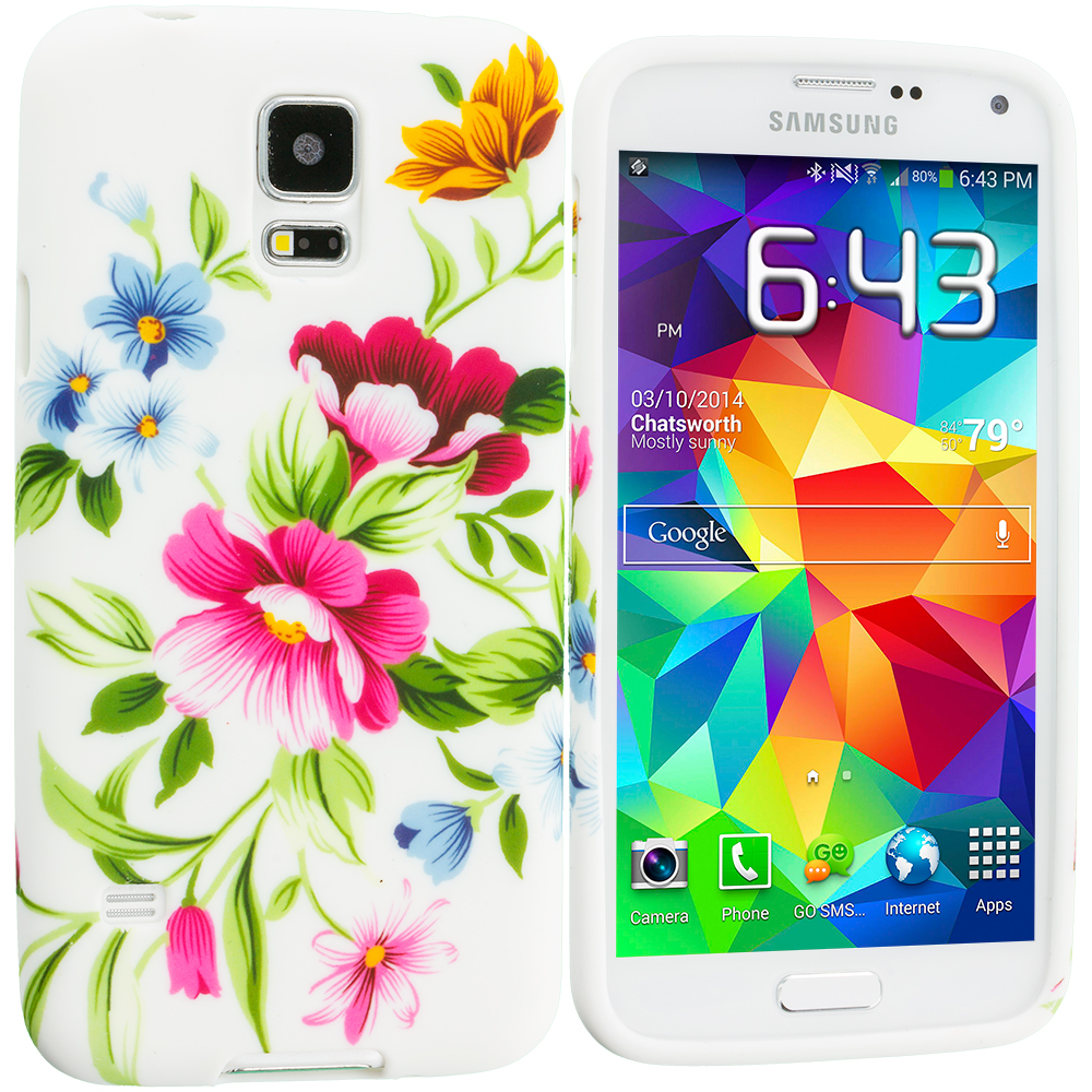 Samsung Galaxy S5 2 in 1 Combo Bundle Pack - Blue White Flower TPU Design Soft Case Cover : Color Flower Painting