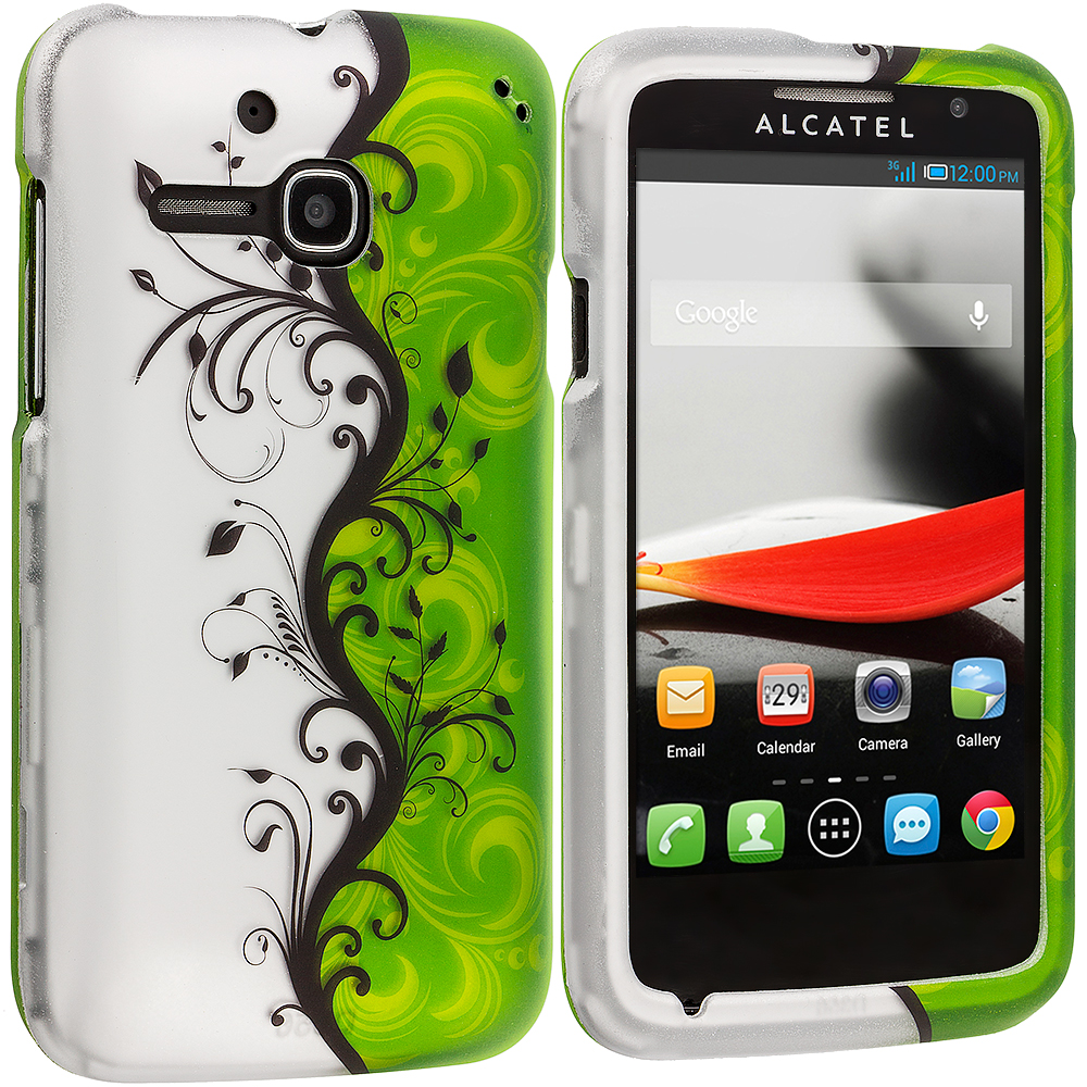 Alcatel One Touch Evolve 5020T Green / White Swirl 2D Hard Rubberized Design Case Cover