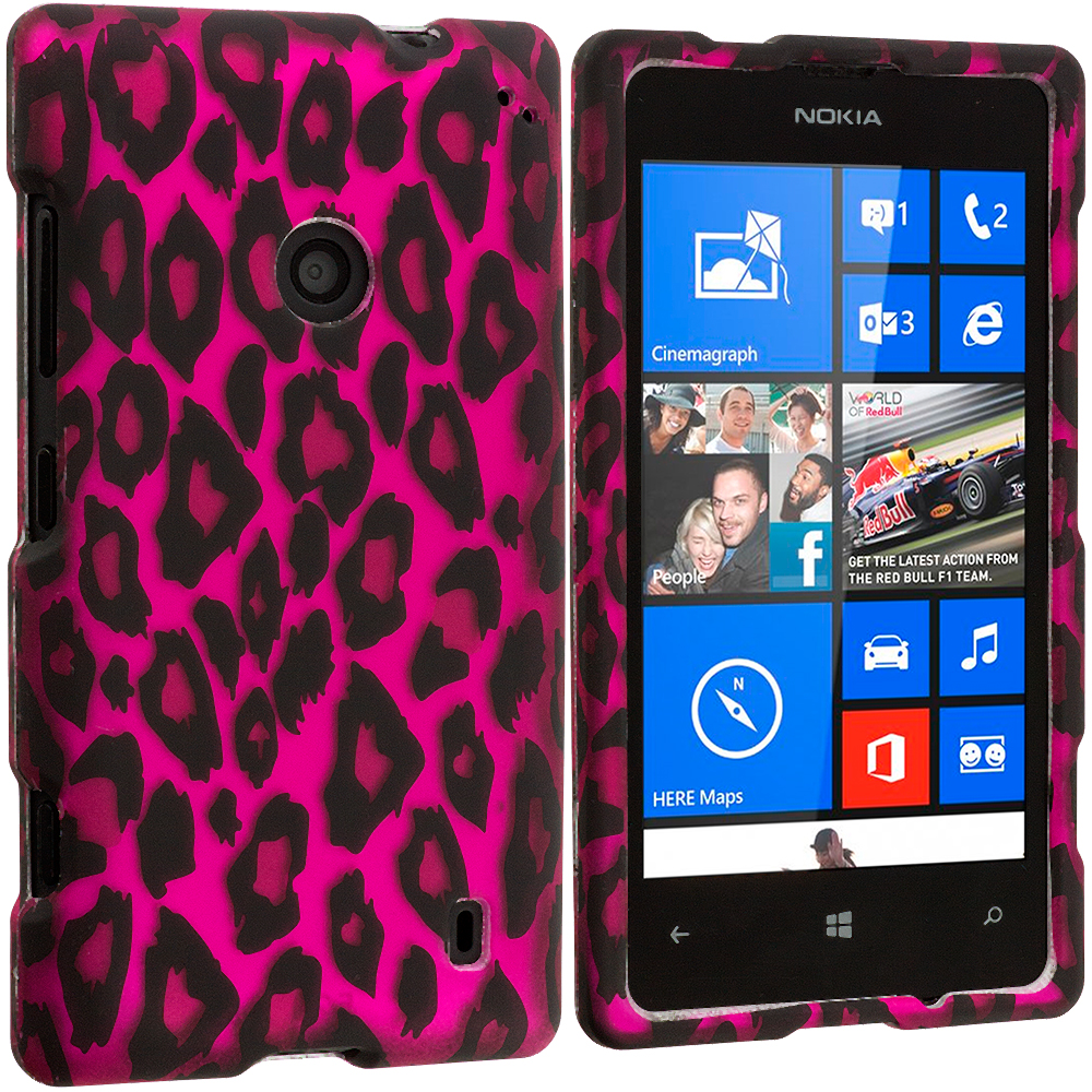 Nokia Lumia 521 Hot Pink Leopard 2D Hard Rubberized Design Case Cover