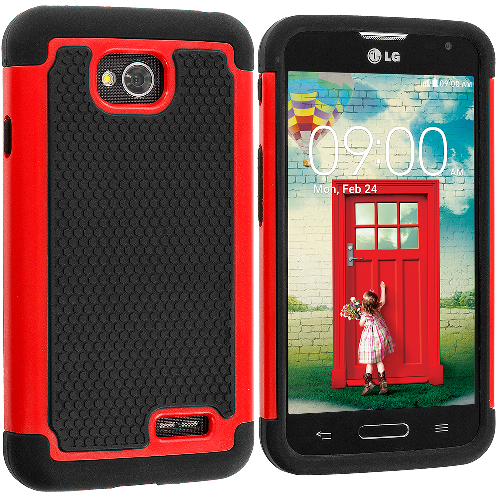 LG Optimus L70 Exceed 2 Realm LS620 Black / Red Hybrid Rugged Hard/Soft Case Cover