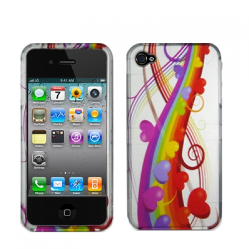 Apple iPhone 4 / 4S Rainbow Hearts Design Crystal Hard Case Cover