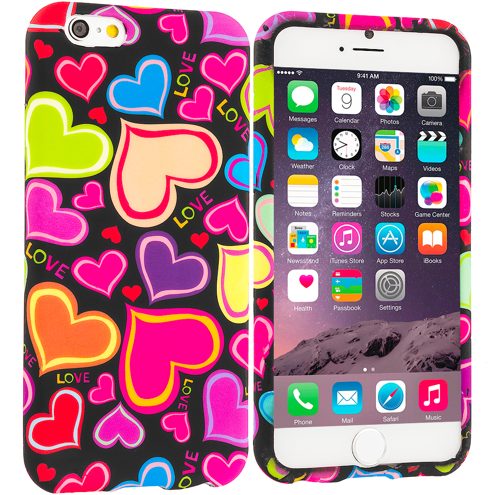 Apple iPhone 6 6S (4.7) Rainbow Hearts Black TPU Design Soft Case Cover