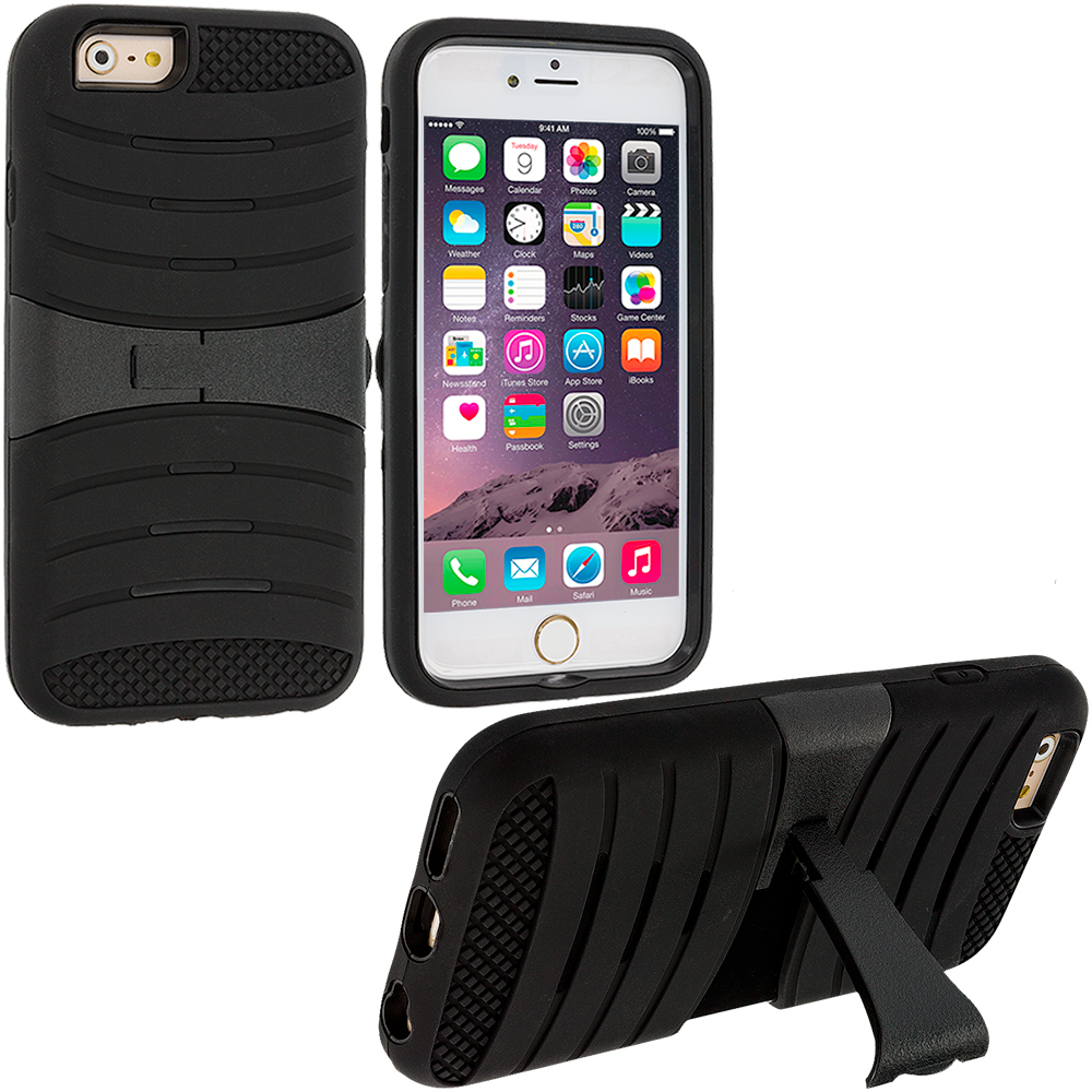 Apple iPhone 6 Plus 6S Plus (5.5) Black Hybrid Heavy Duty Shockproof Case Cover with Stand