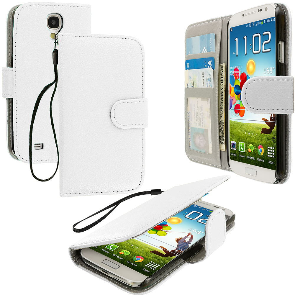 Samsung Galaxy S4 White Leather Wallet Pouch Case Cover with Slots