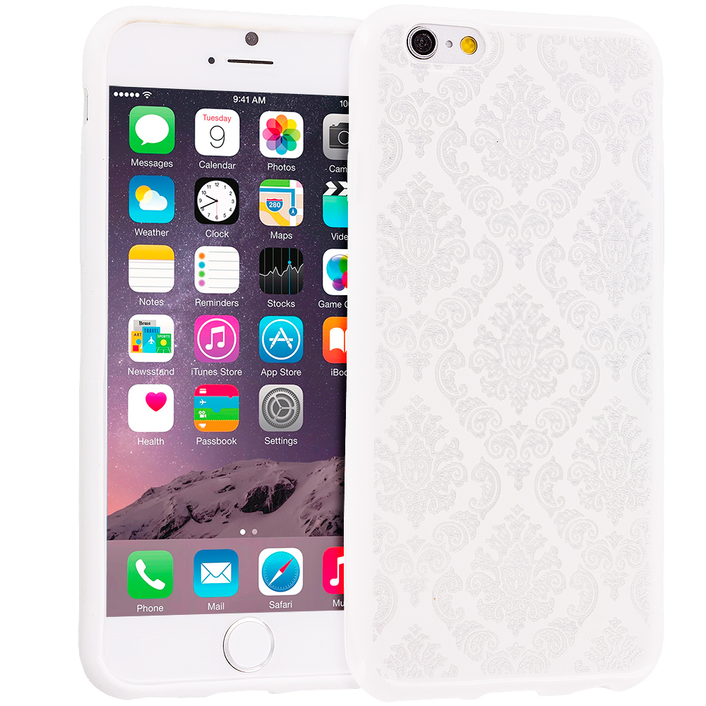 Apple iPhone 6 Plus 6S Plus (5.5) White TPU Damask Designer Luxury Rubber Skin Case Cover
