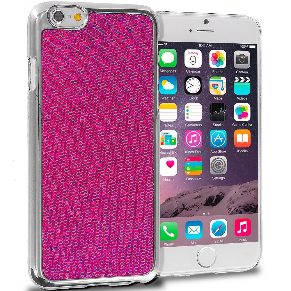 Apple iPhone 6 6S (4.7) Hot Pink Metal Glitter Case Cover