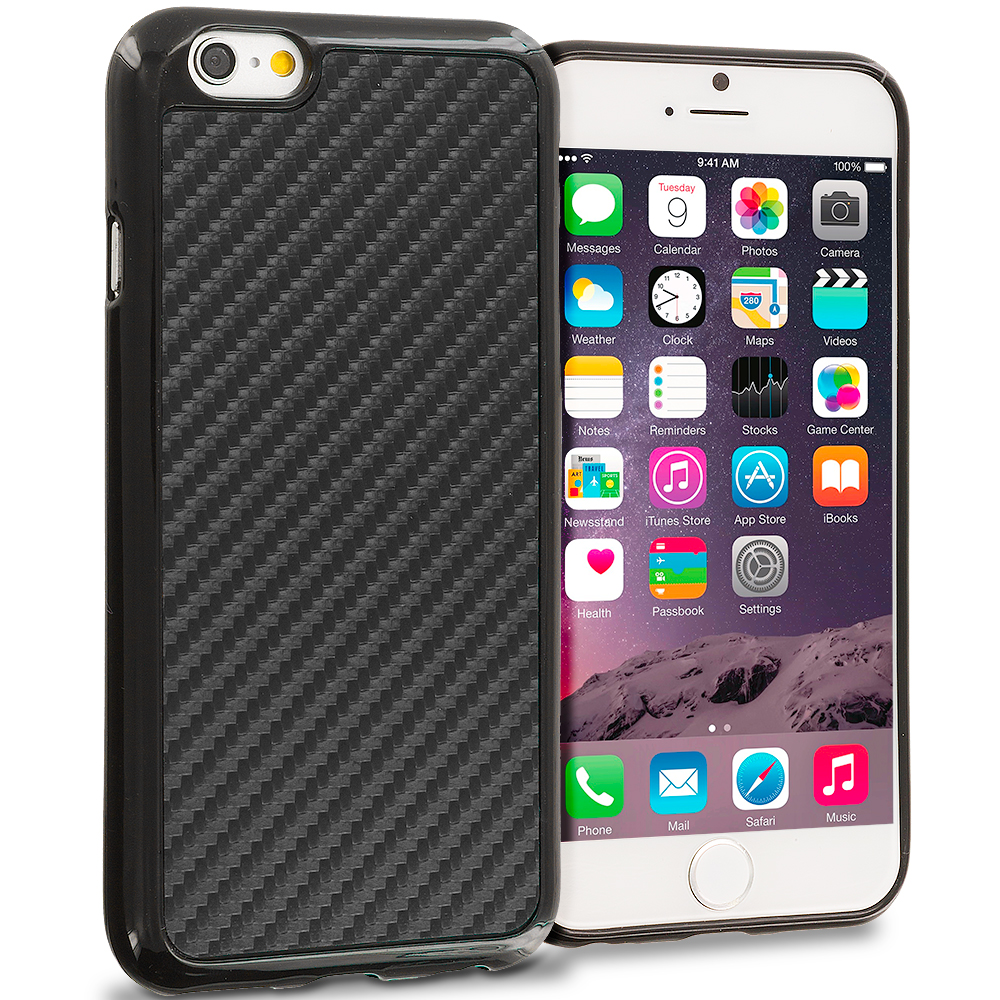 Apple iPhone 6 6S (4.7) Black Carbon Fiber TPU Design Soft Rubber Case Cover