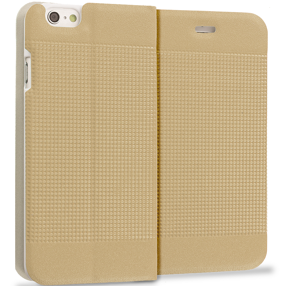 Apple iPhone 6 Plus 6S Plus (5.5) Gold Slim Wallet Flip Design Case Cover