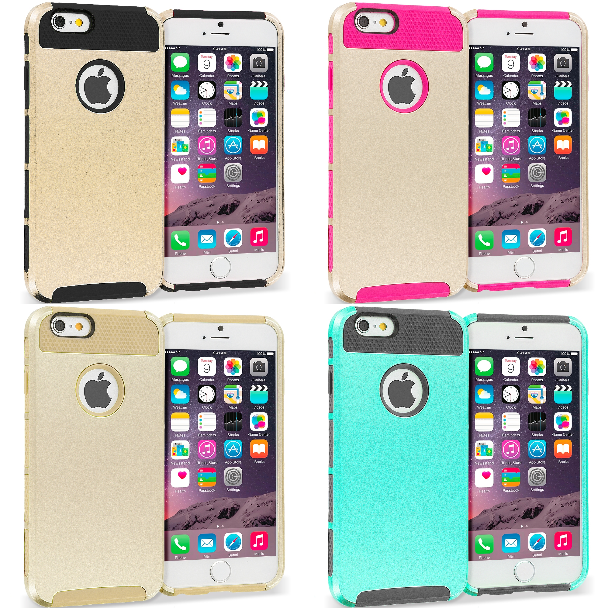 Apple iPhone 6 6S (4.7) 4 in 1 Combo Bundle Pack - Hybrid Hard TPU Honeycomb Rugged Case Cover