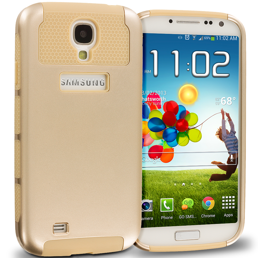 Samsung Galaxy S4 Gold / Gold Hybrid Hard TPU Honeycomb Rugged Case Cover