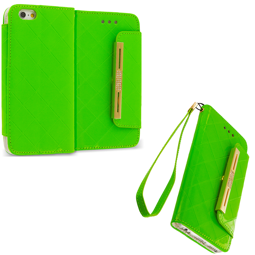 Apple iPhone 6 6S (4.7) Green Luxury Wallet Diamond Plaid Purse Case Cover With Slots