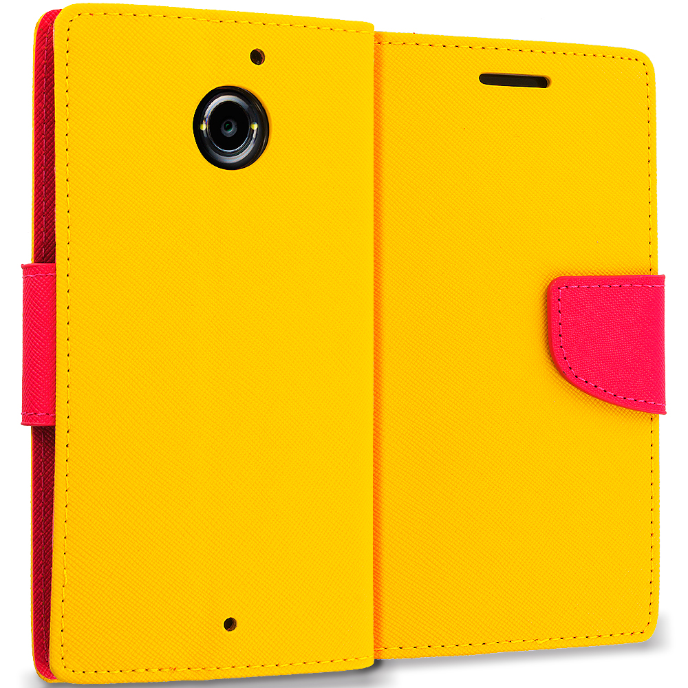Motorola Moto X 2nd Gen Yellow / Hot Pink Leather Flip Wallet Pouch TPU Case Cover with ID Card Slots