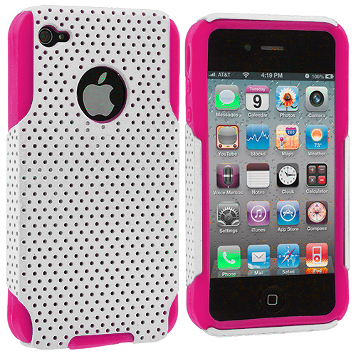 Apple iPhone 4 / 4S Hot Pink / White Hybrid Mesh Hard/Soft Case Cover