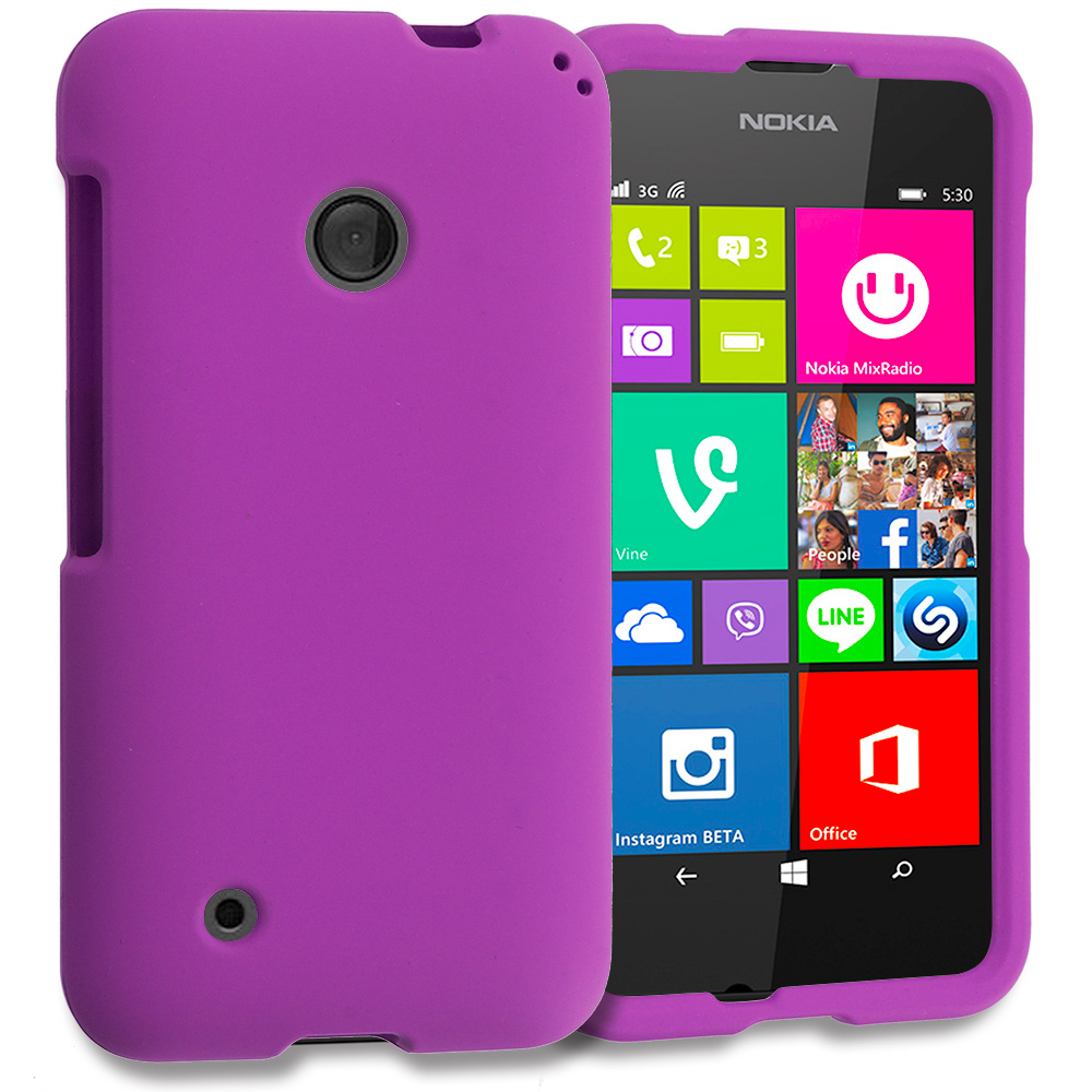 Nokia Lumia 530 Purple Hard Rubberized Case Cover