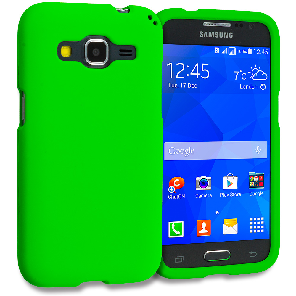 Samsung Galaxy Prevail LTE Core Prime G360P / Prevail LTE 2 in 1 Combo Bundle Pack - White Green Hard Rubberized Case Cover : Color Neon Green