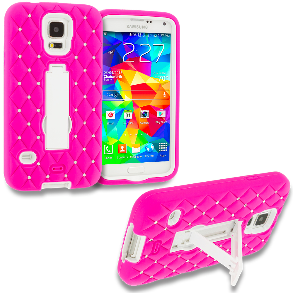 Samsung Galaxy S5 Hot Pink / White Hybrid Diamond Bling Hard Soft Case Cover with Kickstand