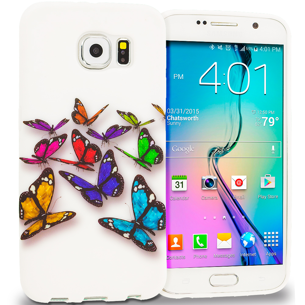 Samsung Galaxy S6 Blue Colorful Butterfly TPU Design Soft Rubber Case Cover