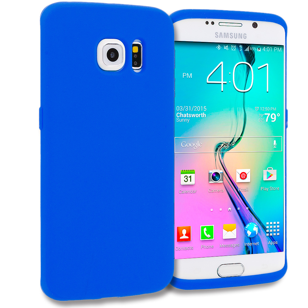 Samsung Galaxy S6 Edge Blue Silicone Soft Skin Rubber Case Cover