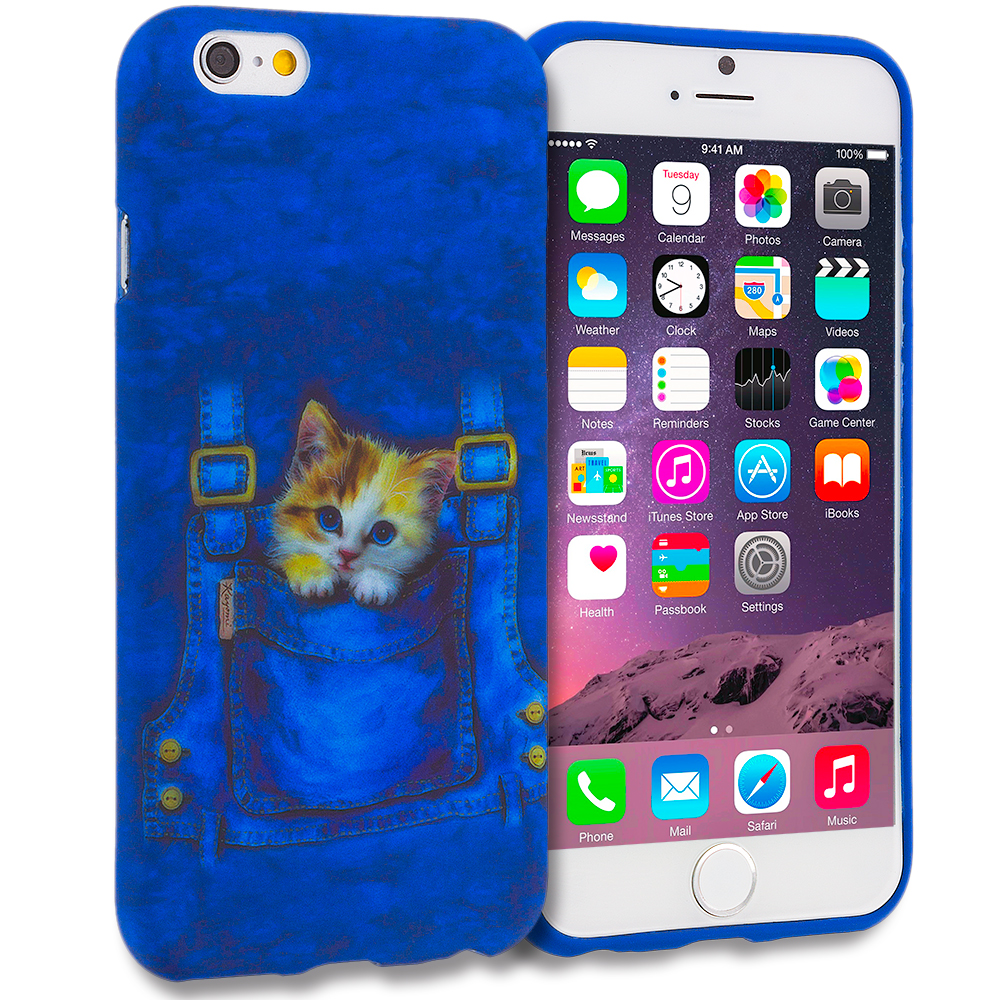 Apple iPhone 6 6S (4.7) 11 in 1 Combo Bundle Pack - TPU Design Soft Rubber Case Cover : Color Kitty Cat Jeans