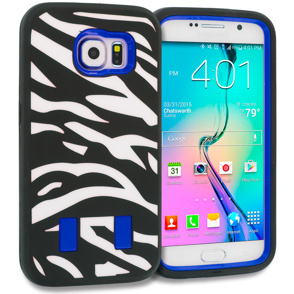 Samsung Galaxy S6 Zebra Blue Hybrid Deluxe Hard/Soft Case Cover
